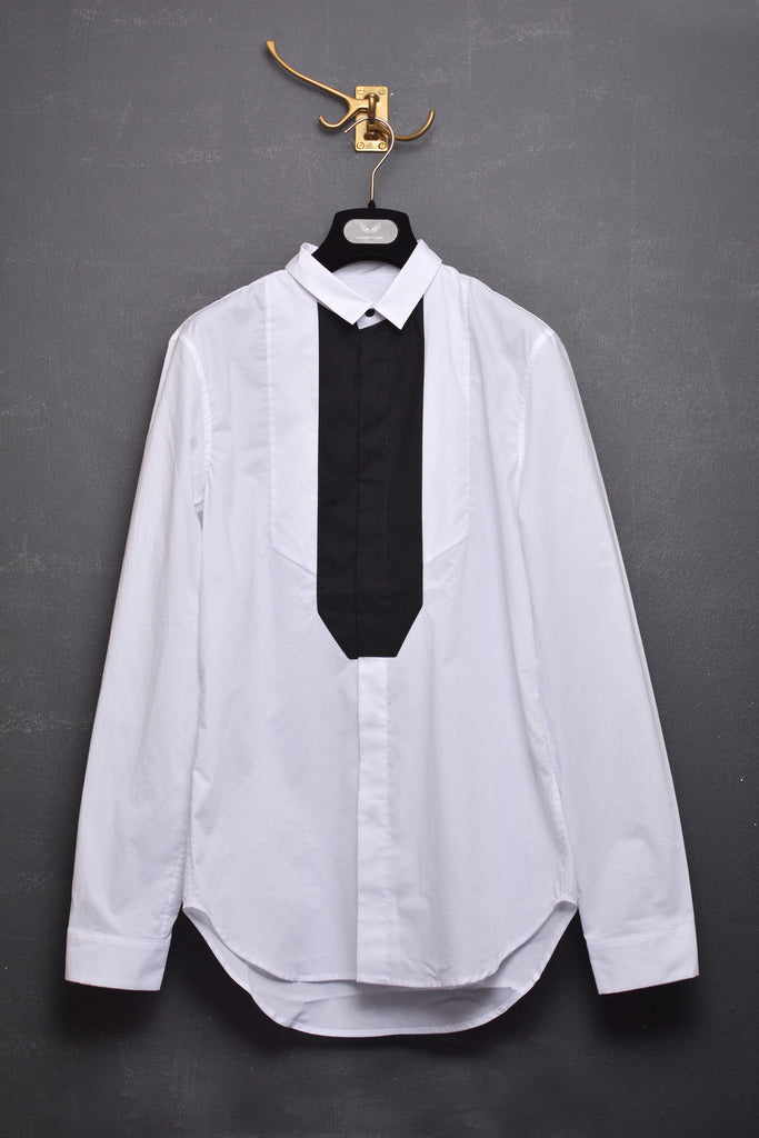UNCONDITIONAL AW14 WHITE AND BLACK SHIRT WITH ASYMMETRIC ANGLED CONTRAST BIB.