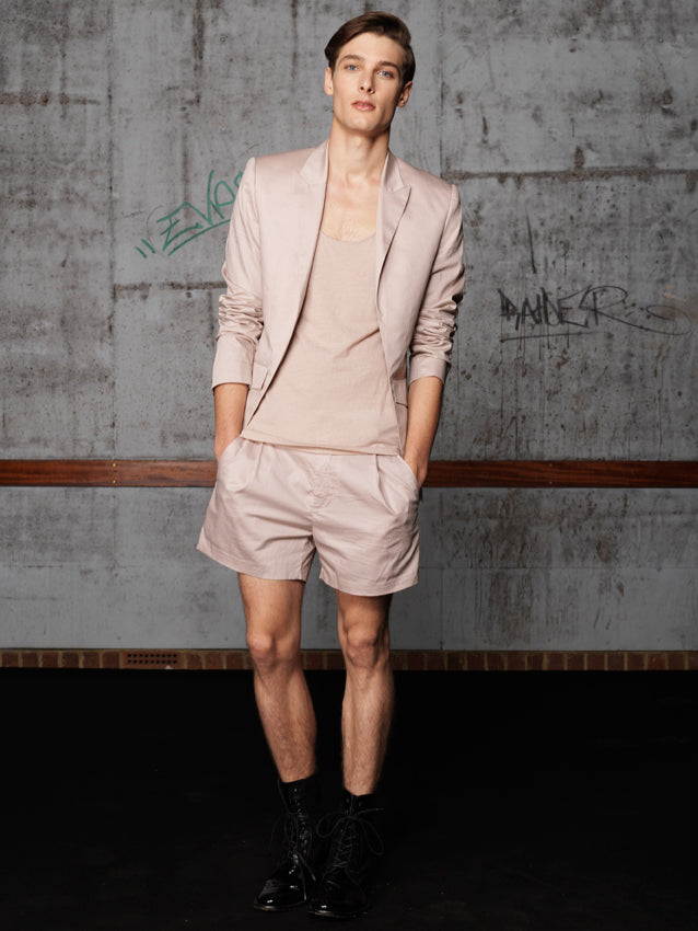 UNCONDITIONAL AW20 Nude light cotton silk lined cutaway jacket.