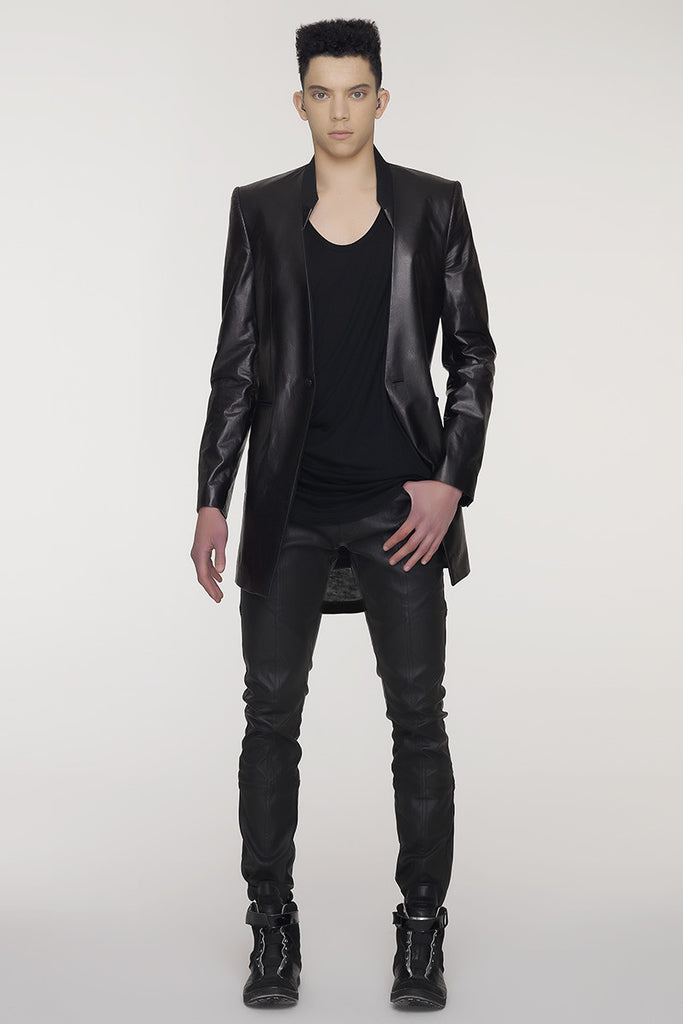 UNCONDITIONAL Black stretch denim patchwork skinny trousers.