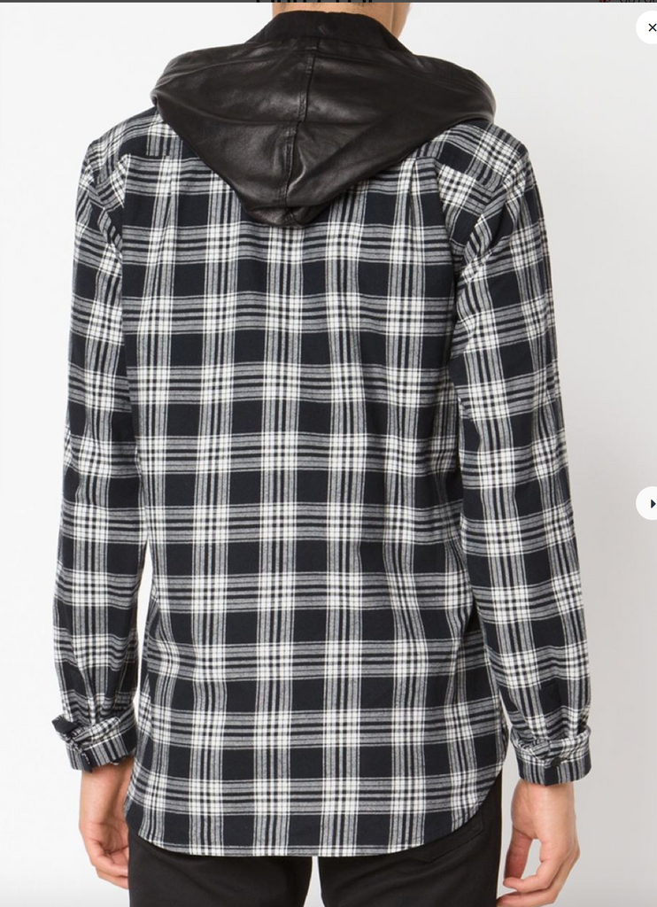 UNCONDITIONAL AW15 black and white check shirt with a detachable lambs leather hood.