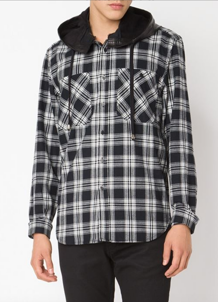 ad706a248eee UNCONDITIONAL Black and Red check shirt with a detachable leather hood
