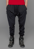 UNCONDITIONAL Black full length slim heavy cotton jersey trouser with new crotch piping detail.