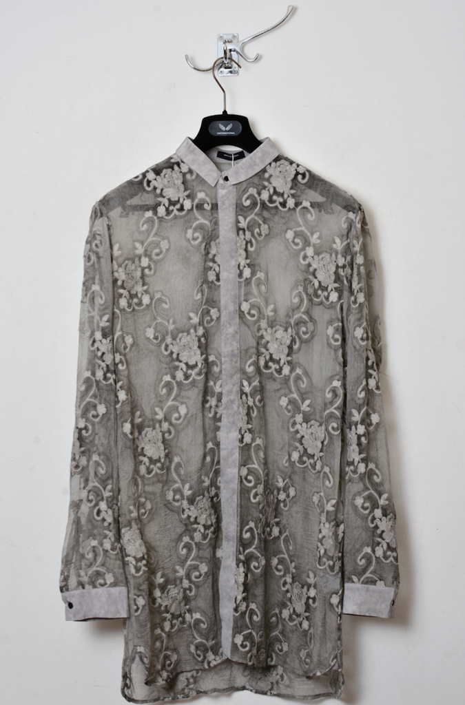 UNCONDITIONAL Desert sand cold dyed silk embroidered shirt