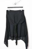 UNCONDITIONAL Black light cotton shorts with inserted linen voile shirt wrap