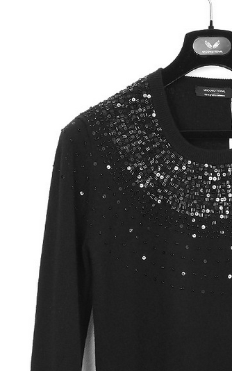UNCONDITIONAL's Black Cashmere Perfect Crew neck hand beaded jumper.