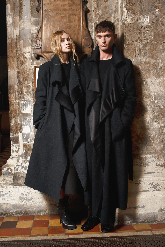 UNCONDITIONAL Black wool homeless coat.
