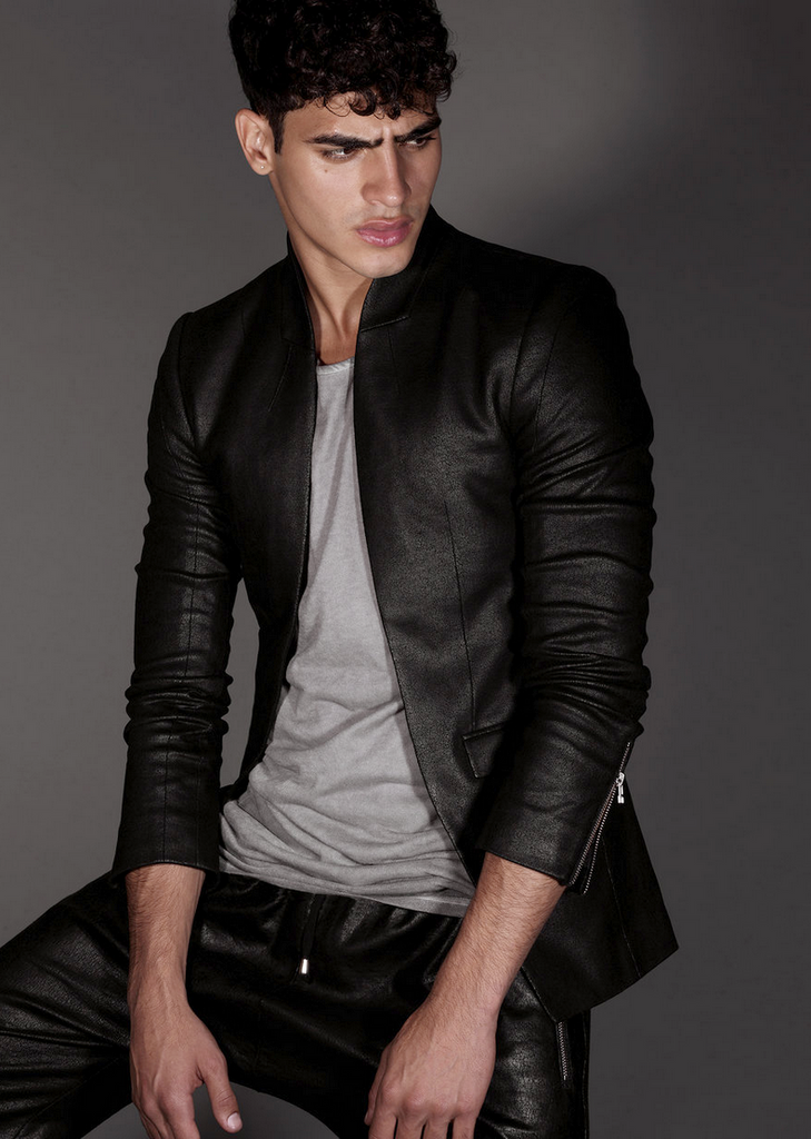 UNCONDITIONAL matt black cutaway leather look jacket