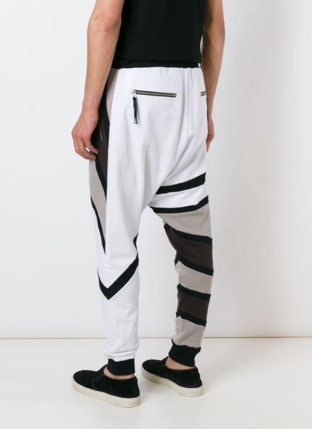 UNCONDITIONAL Tribal drop crotch trousers in white, chocolate, black, linen stripes