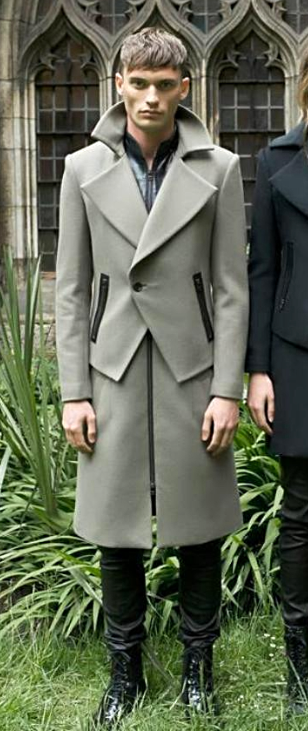 UNCONDITIONAL Pale Army and Black double layered long biker peacoat.