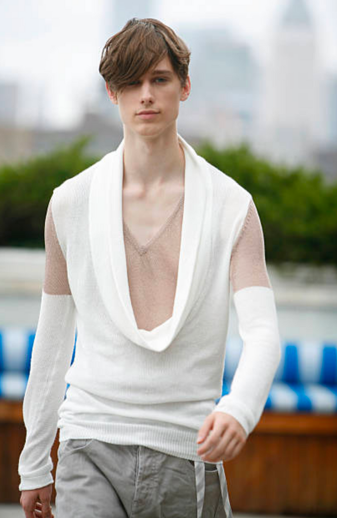 UNCONDITIONAL WHITE COTTON SCULPTURE COLLAR NECK JUMPER WITH COPPER METALLIC MESH UPPER ARM