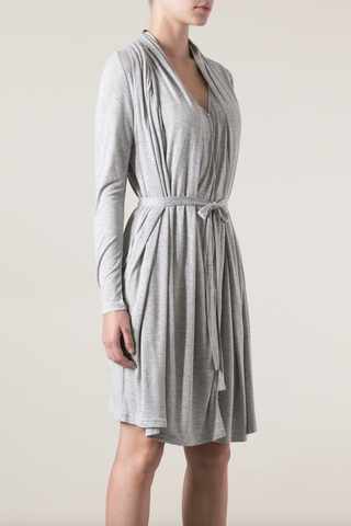 UNCONDITIONAL Flannel sleeveless drape front dress with self belt