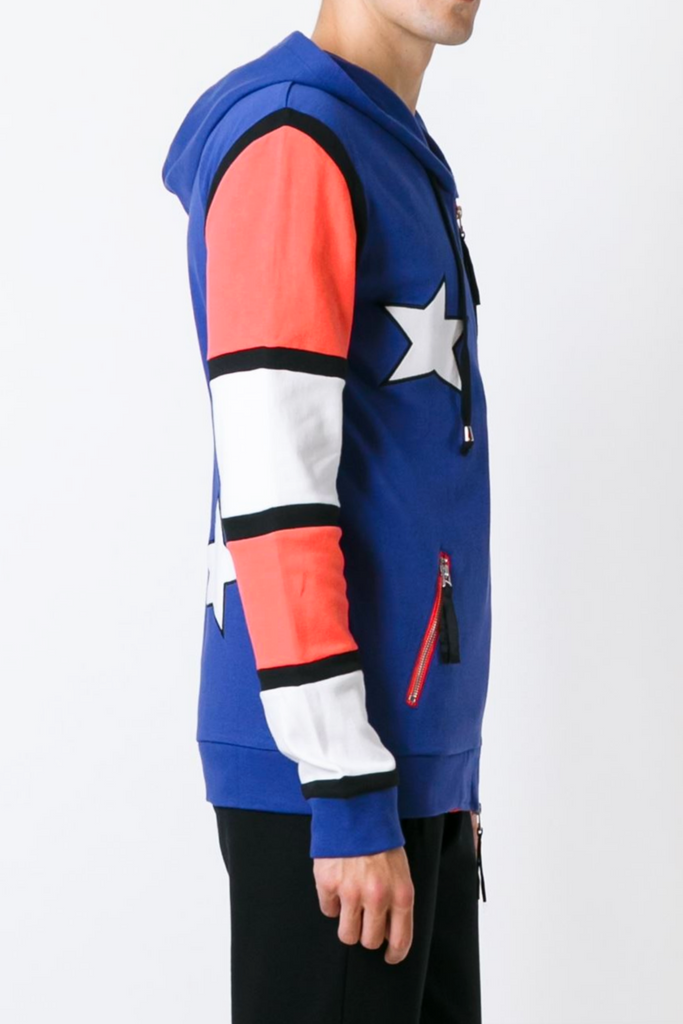 UNCONDITIONAL Americana double zip heavy cotton hoodie.