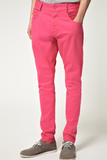 UNCONDITIONAL Pink stretch drill back zip drop crotch jeans.
