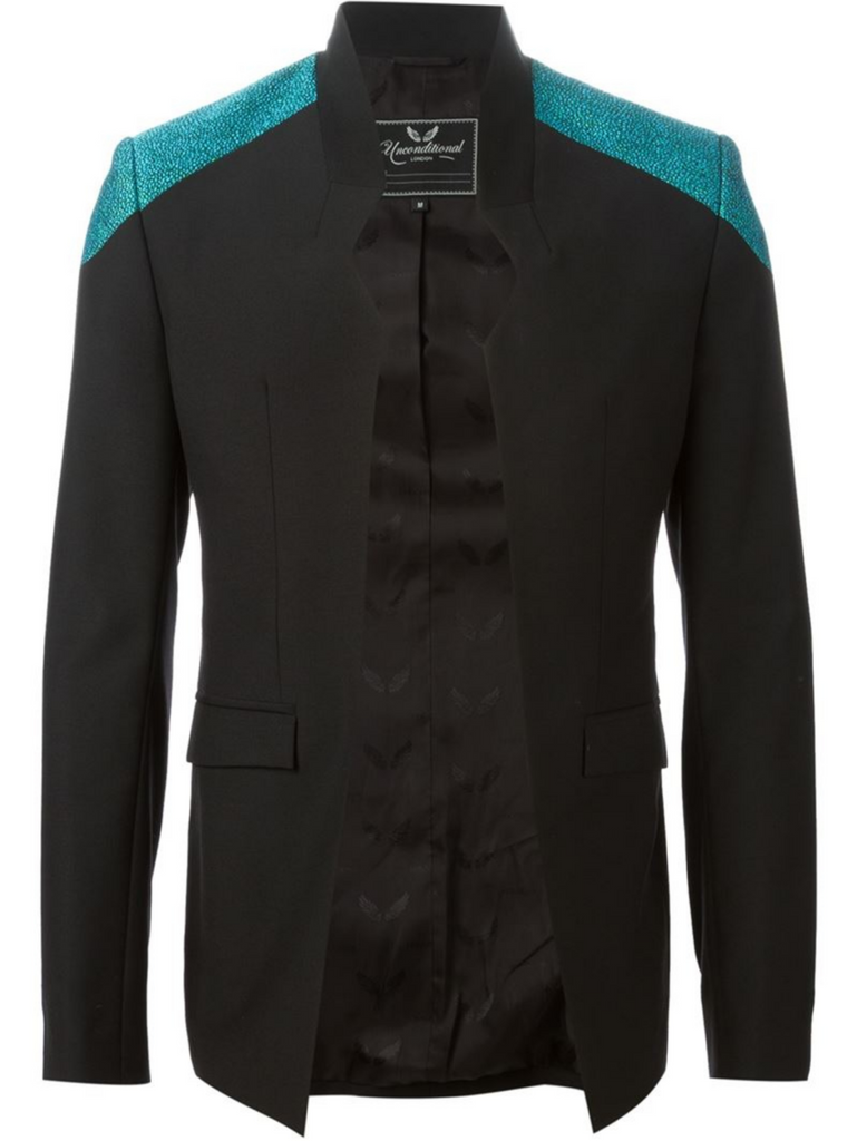 UNCONDITIONAL Black cutaway jacket with aqua metallic boucle shoulders.