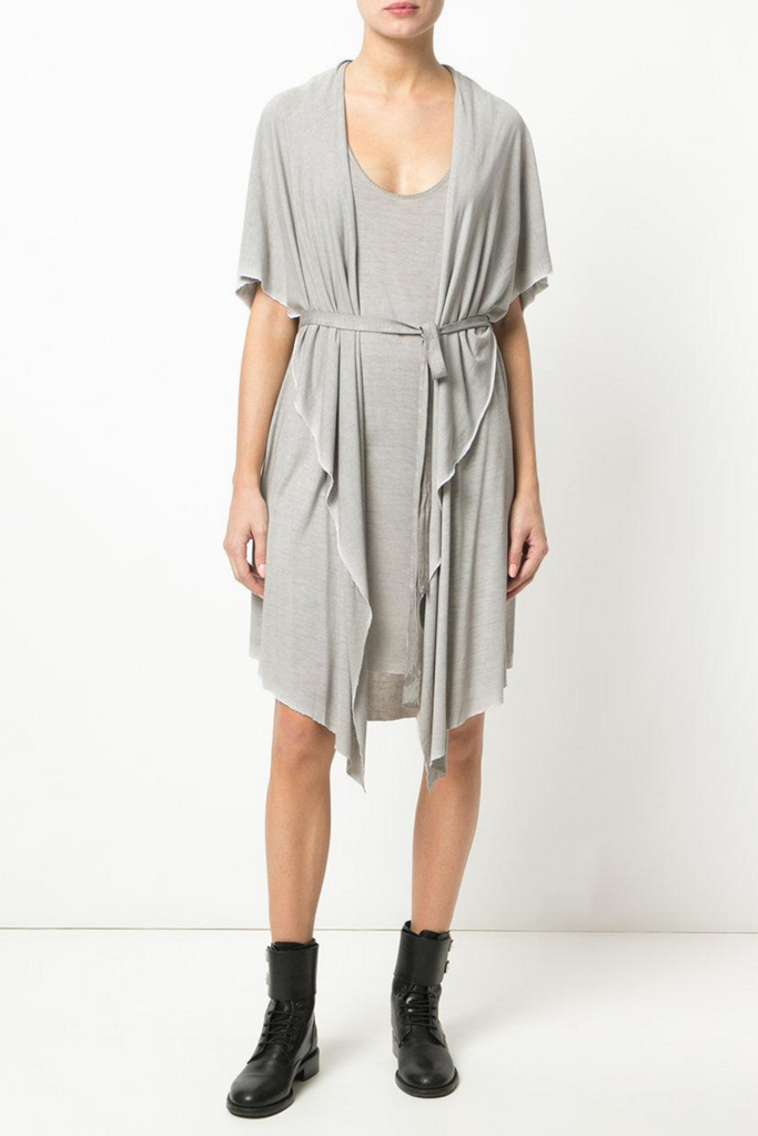 UNCONDITIONAL Sand cold dye hooded cape drape waistcoat dress