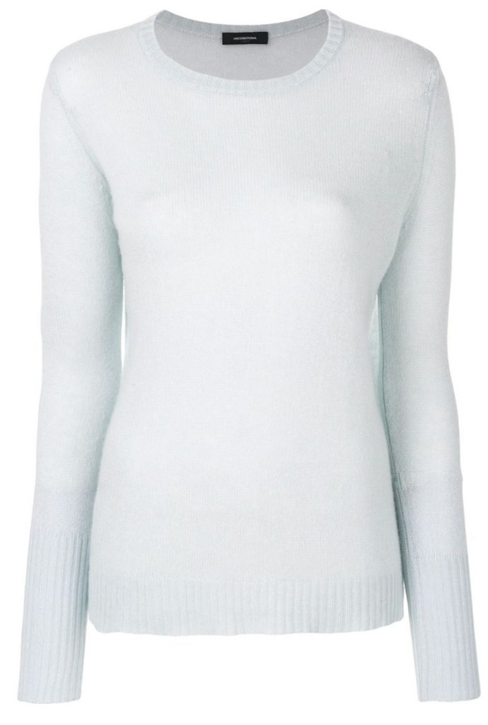 UNCONDITIONAL Ice Blue loose knit round neck silk cashmere sweater
