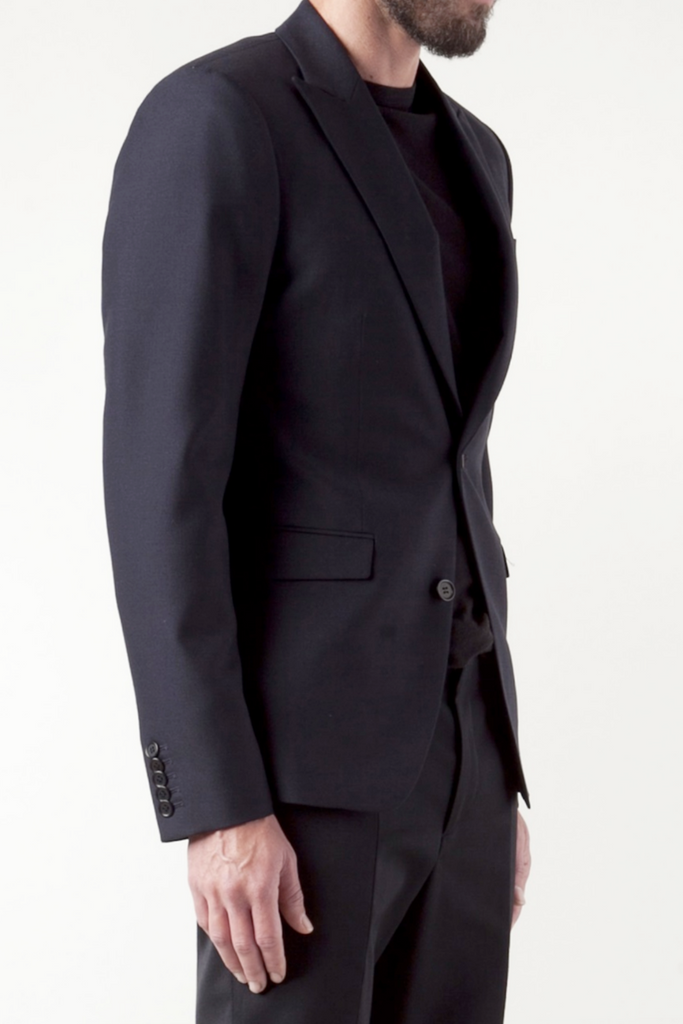 UNCONDITIONAL Dark Navy pure wool 1 button 'reconstructed' jacket.