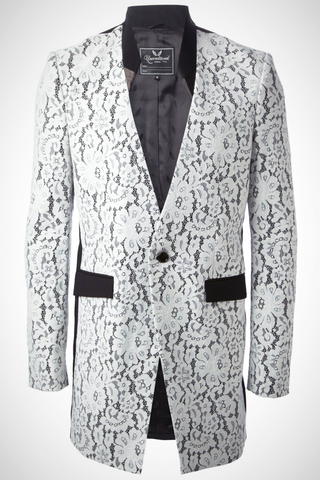 UNCONDITIONAL BESPOKE Gold and White combable sequin cutaway jacket