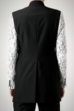 UNCONDITIONAL Black longline jacket with lace veiled front and sleeves