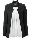 UNCONDITIONAL Black wool cutaway jacket with white silk lined open back