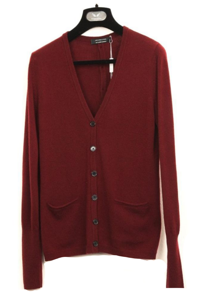 UNCONDITIONAL Burgundy cashmere cardigan with functional button back placket