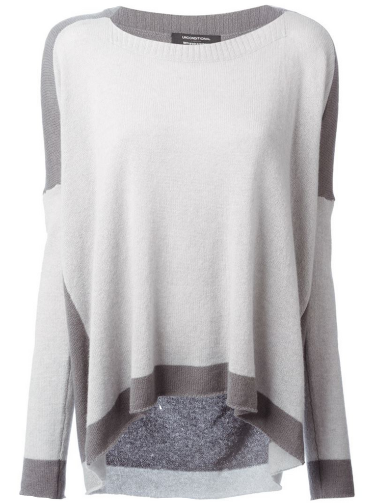 UNCONDITIONAL Cement and Silver slash neck cashmere jumper