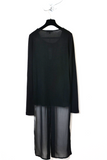 UNCONDITIONAL SS19 black long sleeved t-shirt with split silk chiffon tail
