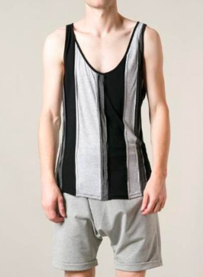 UNCONDITIONAL Rayon patchwork striped vest with external seams in greys