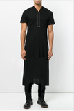 UNCONDITIONAL AW18 Black SHORT SLEEVED hooded LONGEST LENGTH tail T-shirt