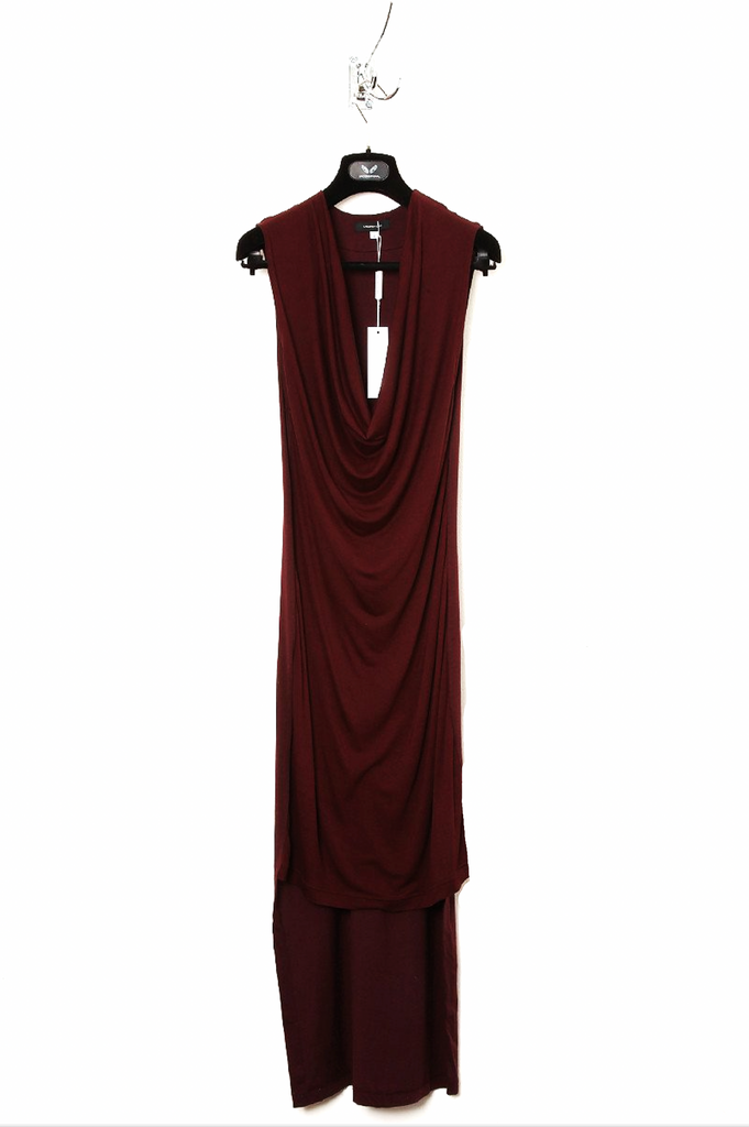 UNCONDITIONAL dark burgundy sleeveless drape front tail dress.
