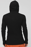 UNCONDITIONAL AW19 Black ribbed hooded deep plunge front jumper.