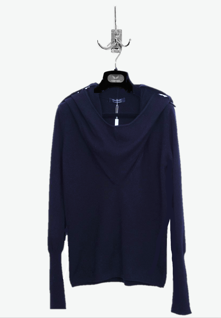 "UNCONDITIONAL Womens Midnight Blue cashmere ""Ghost Hoodie"" sweater"
