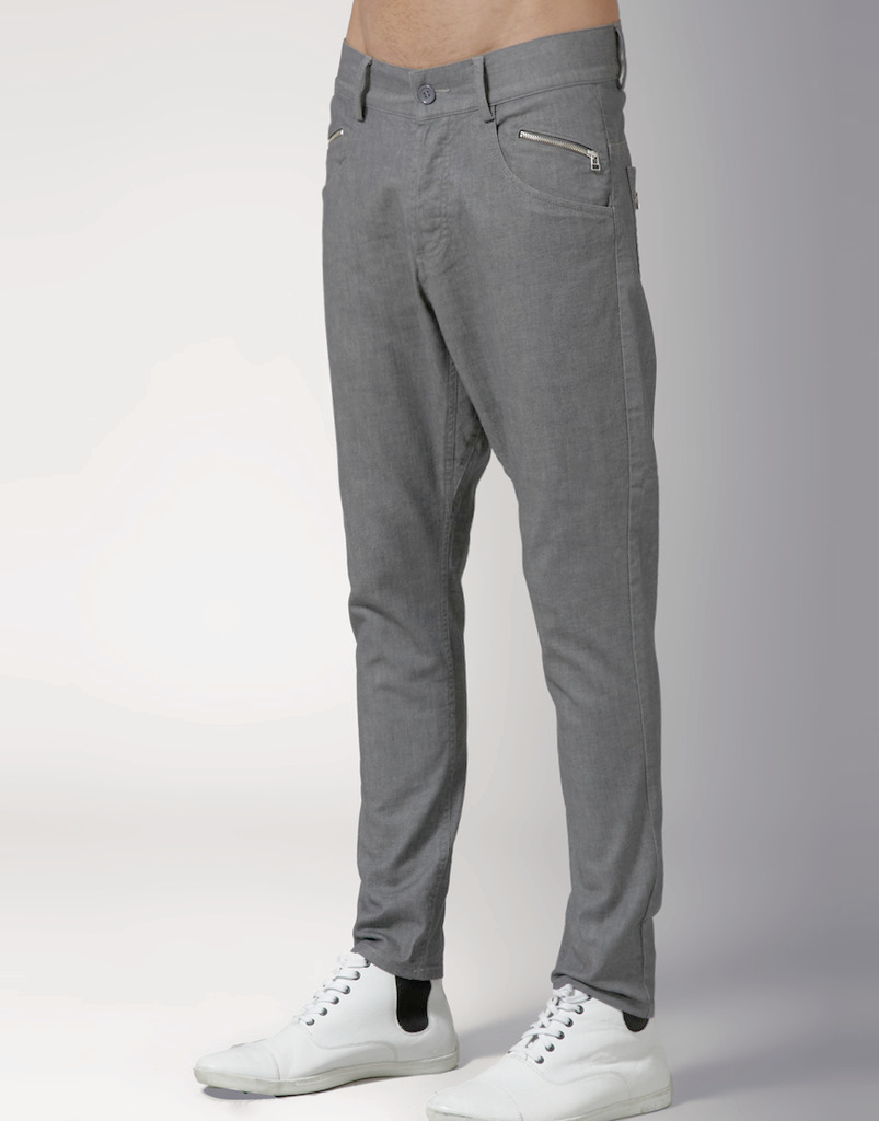 UNCONDITIONAL light grey basic stretch denim  drop crotch jeans.