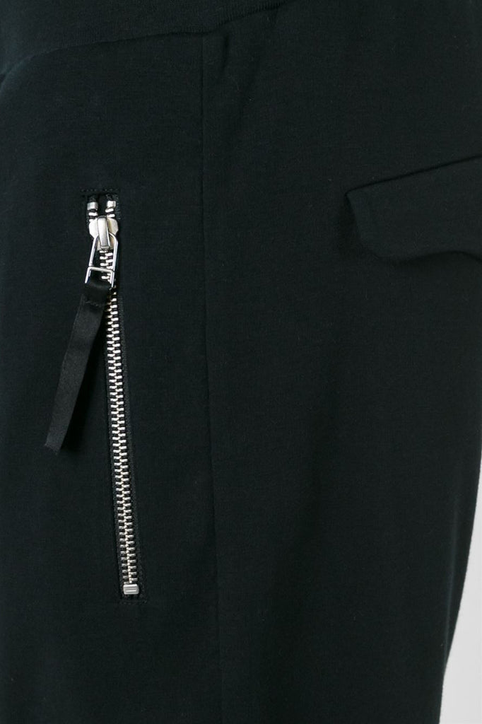 UNCONDITIONAL SS16 black heavy jersey trouser with rib cuff and waistband.
