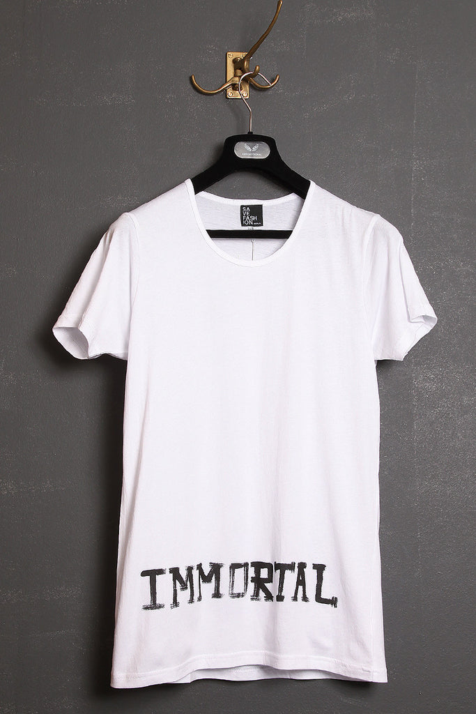 "UNCONDITIONAL crew neck t-shirt in 100% cotton with black ""IMMORTAL"" print."