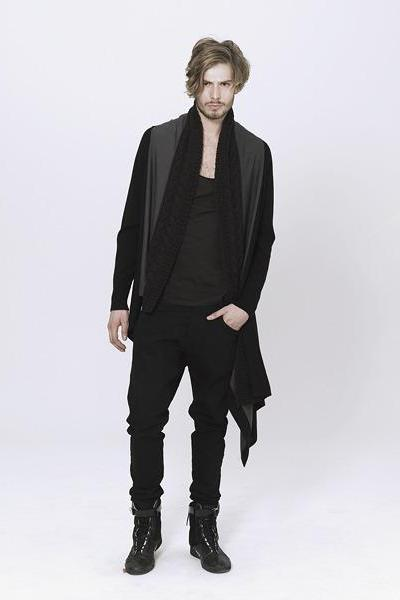 UNCONDITIONAL Dark grey | Black asymmetric drape cardigan with hand knit collar.