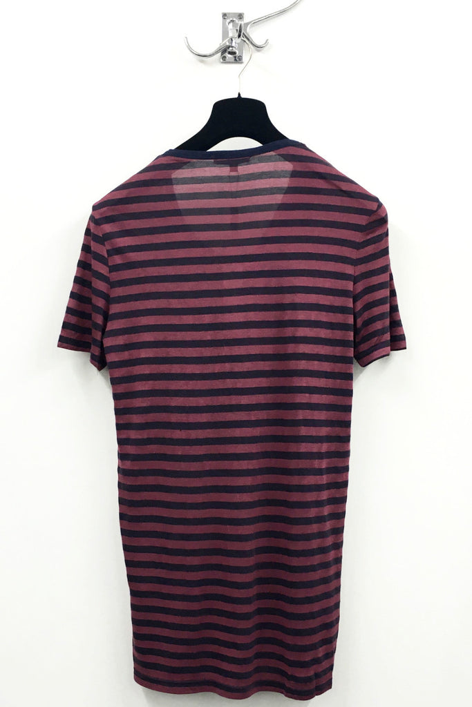 UNCONDITIONAL navy with brick stripes cross drape neck cotton T-shirt