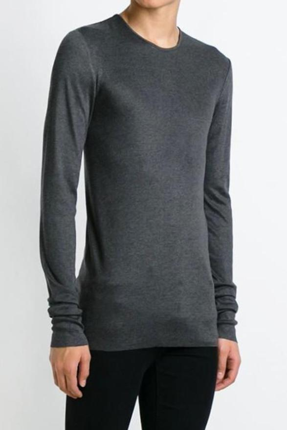 UNCONDITIONAL long sleeve steel grey crew neck skinny rib t-shirt