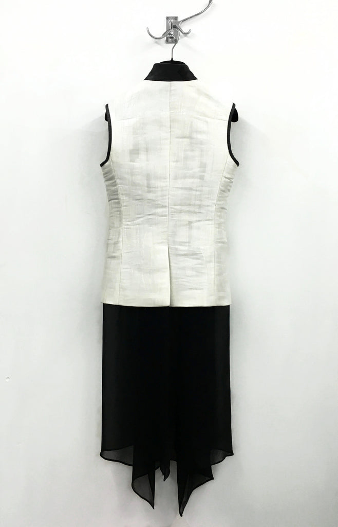 UNCONDITIONAL white microchip sleeveless jacket with black inner silk chiffon drape