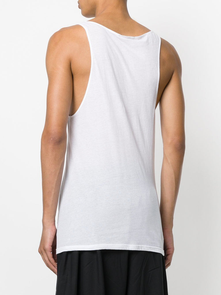 UNCONDITIONAL SS17 white longer fine jersey vest.