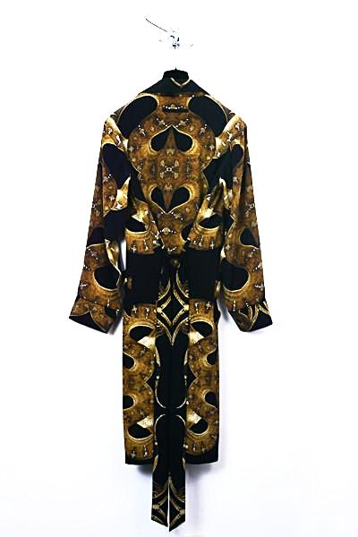 UNCONDITIONAL Silk crepe mens snake print dressing gown
