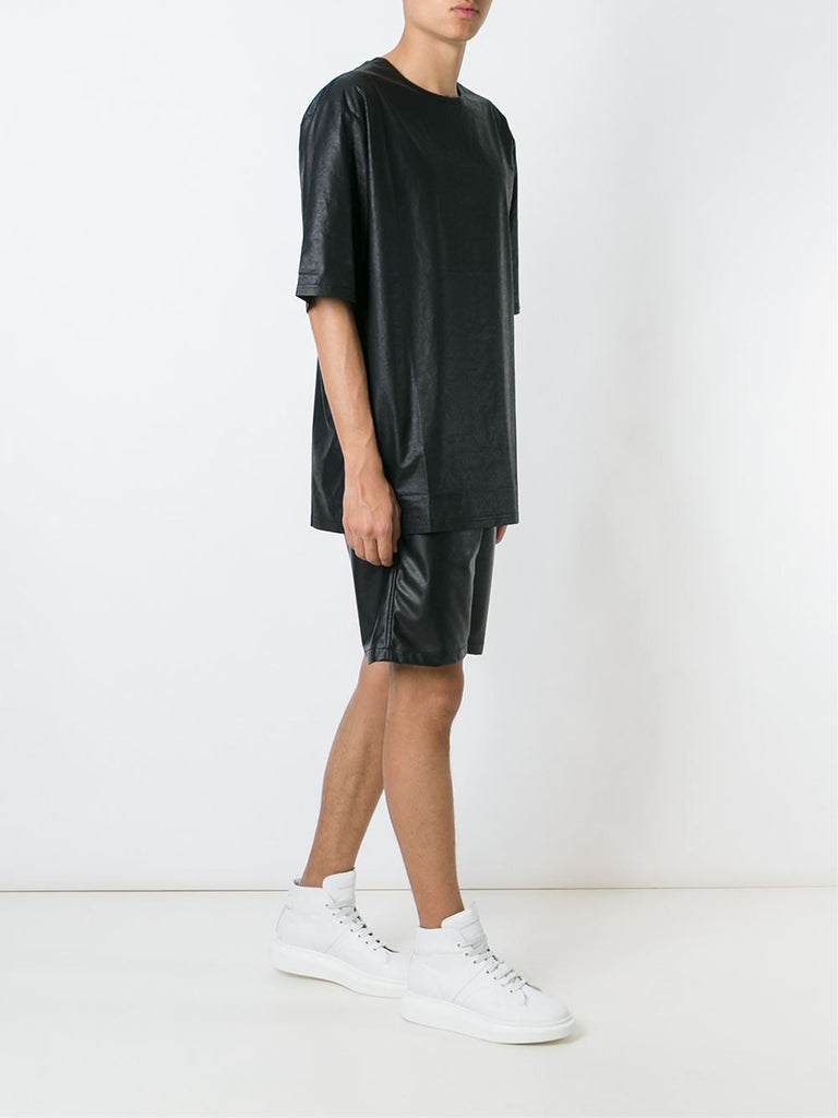 UNCONDITIONAL Matt black, leather look, short sleeved oversized foiled tee.