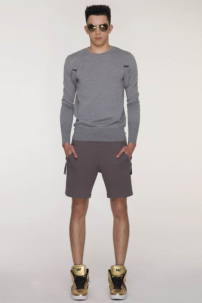 UNCONDITIONAL military heavy jersey shorts with zip up pockets.