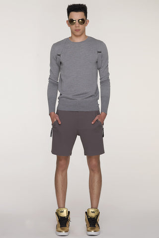 UNCONDITIONAL SS20 White raw finish sweat shorts with low zip pocket