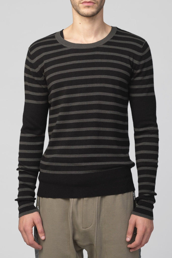 UNCONDITIONAL Cashmere mix Black | Military striped dinosaur tail sweater