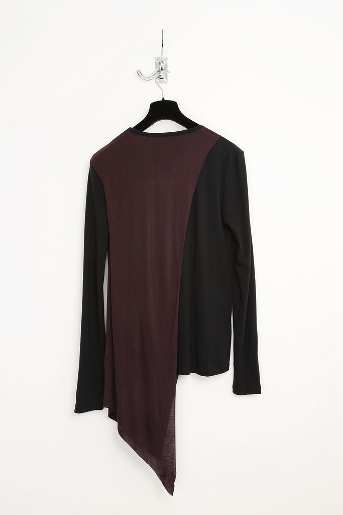 UNCONDITIONAL black and grape round neck t-shirt with loose drape.