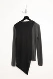 UNCONDITIONAL charcoal and black round neck t-shirt with loose drape.