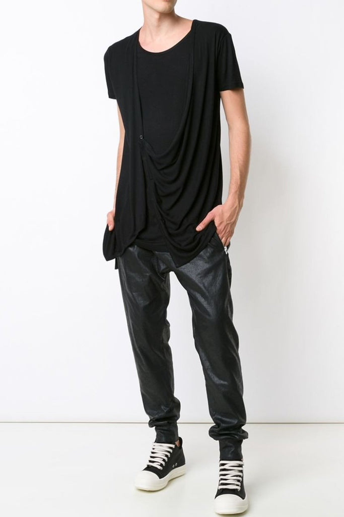 UNCONDITIONAL Black t-shirt with buttoned asymmetric drape waistcoat