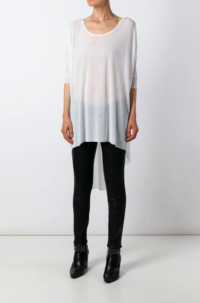 UNCONDITIONAL White signature 3/4 sleeved long tail draped rayon T shirt.