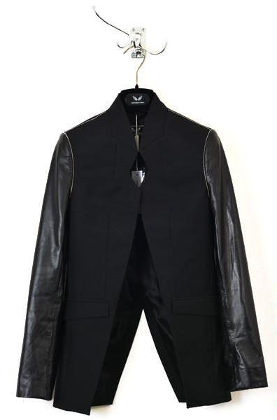 UNCONDITIONAL BLACK CUTAWAY JACKET WITH LEATHER SLEEVES
